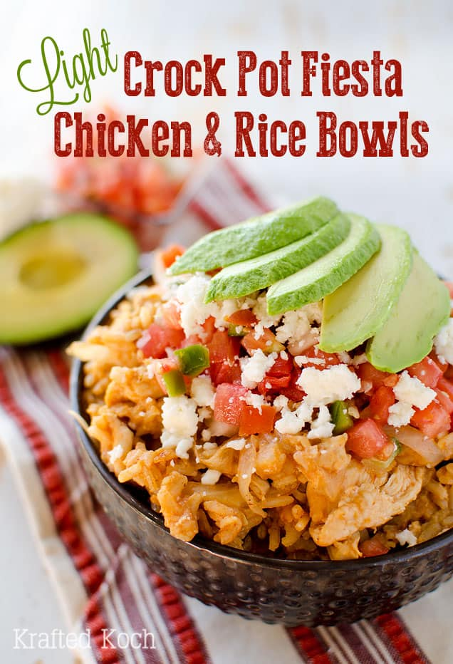 Light Crock Pot Fiesta Chicken & Rice Bowls - An easy weeknight dinner recipe, loaded with bold Mexican flavor, made in your slow cooker.
